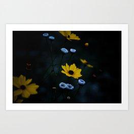 Yellow Flower in a Blue World Art Print