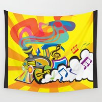 train Wall Tapestries featuring groovy  train by mangulica illustrations