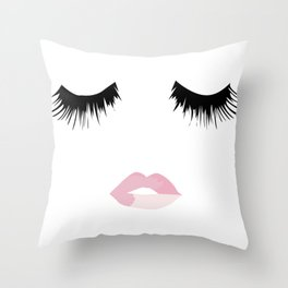 Eyelash Lip Print Throw Pillow