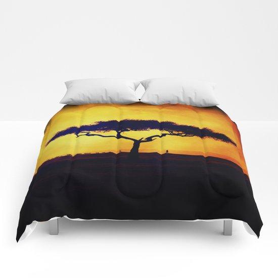 African Farmers Sunset Zebra Comforters