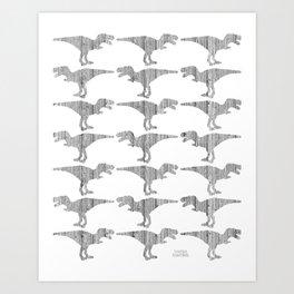 Dinomania Silverwood Art Print