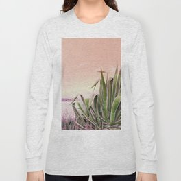 Agave in the Garden on Pastel Coral Long Sleeve T-shirt