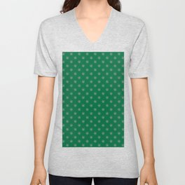 Cotton Candy Pink on Cadmium Green Snowflakes Unisex V-Neck
