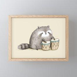 Raccoon on Bongos Framed Mini Art Print