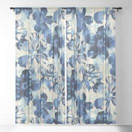 Shibori Inspired Oversized Indigo Floral Sheer Curtain