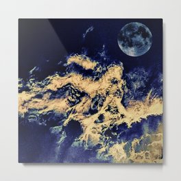 blue moon and clouded night sky Metal Print