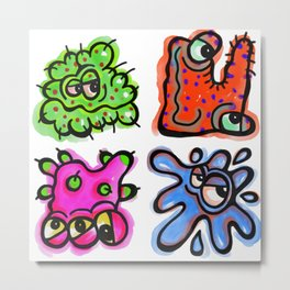 Watercolor Germ Doodles Metal Print