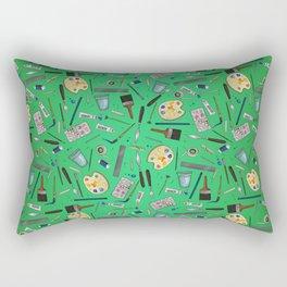 Painter's Supplies - Green Rectangular Pillow