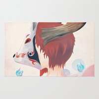 kitsune Area & Throw Rugs featuring KITSUNE GIRL by Vcortez