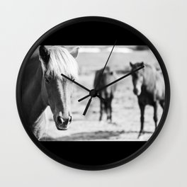 B&W horses Wall Clock
