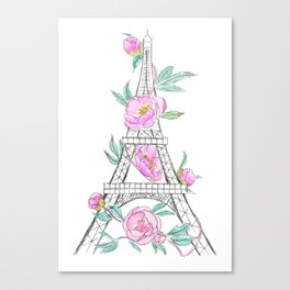 Eiffel tower and peonies Canvas Print
