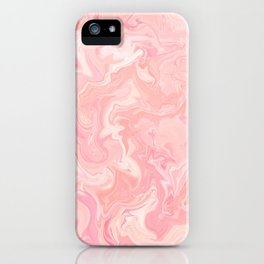 Blush pink abstract watercolor marble pattern iPhone Case