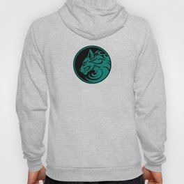 Teal Blue Growling Wolf Disc Hoody
