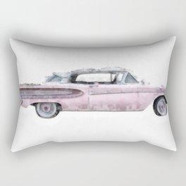 Pink Ford Edsel  Watercolor Rectangular Pillow