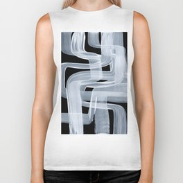 Ghostly Minimalist Abstract Painting Black And White Maze Brush Strokes Biker Tank