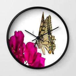 Swallowtail Butterfly On Bougainvillea Wall Clock