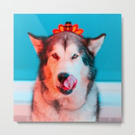 Ready for Turkey! Hungry Puppy at Thanksgiving Metal Print