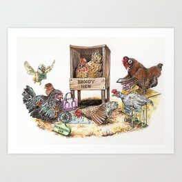 """Life in the Coop"" funny chicken watercolor Art Print"