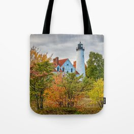 MICHIGAN UPPER PENINSULA LIGHTHOUSE AUTUMN GREAT LAKES Tote Bag