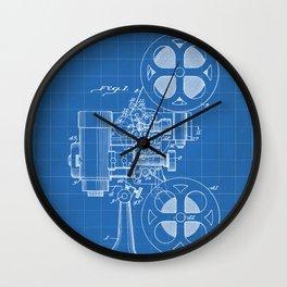 Film Projector Patent - Cinema Art - Blueprint Wall Clock