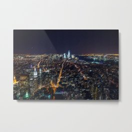 Midtown Manhattan and Freedom Tower Landscape Painting by Jeanpaul Ferro Metal Print