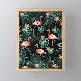 Tropical Flamingo Floral Night Pattern #1 #tropical #decor #art #society6 Framed Mini Art Print