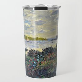 Red Poppies on the banks of the Seine at Argenteuil by Claude Monet Travel Mug
