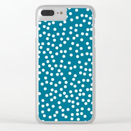 Dark Teal and White Polka Dot Pattern Clear iPhone Case