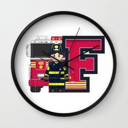 F is for Fireman Illustration Wall Clock