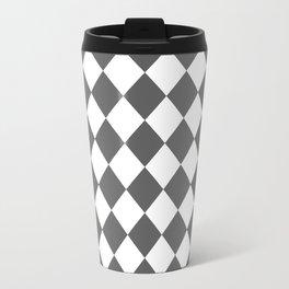 Diamonds - White and Dark Gray Travel Mug