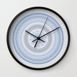 Elegant Blue Silver China Inspired Mandala Wall Clock