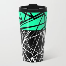 Black and white abstract geometric pattern with green insert . Travel Mug