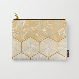 Geometric Effect Caramel Marble Design Carry-All Pouch