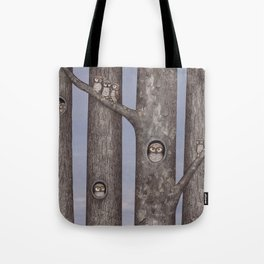 owls in trees Tote Bag