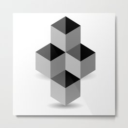 3d Optical illusion with four grey cubes Metal Print