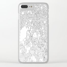 White Leaves Clear iPhone Case