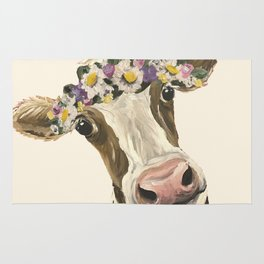 Cow Art, Flower Crown Cow Art Rug