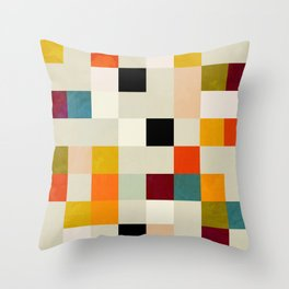 modern mid century chequers Throw Pillow