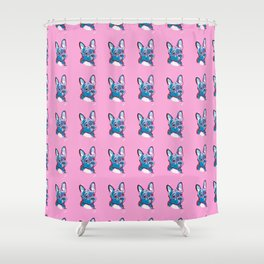 Frenchie Blues Shower Curtain