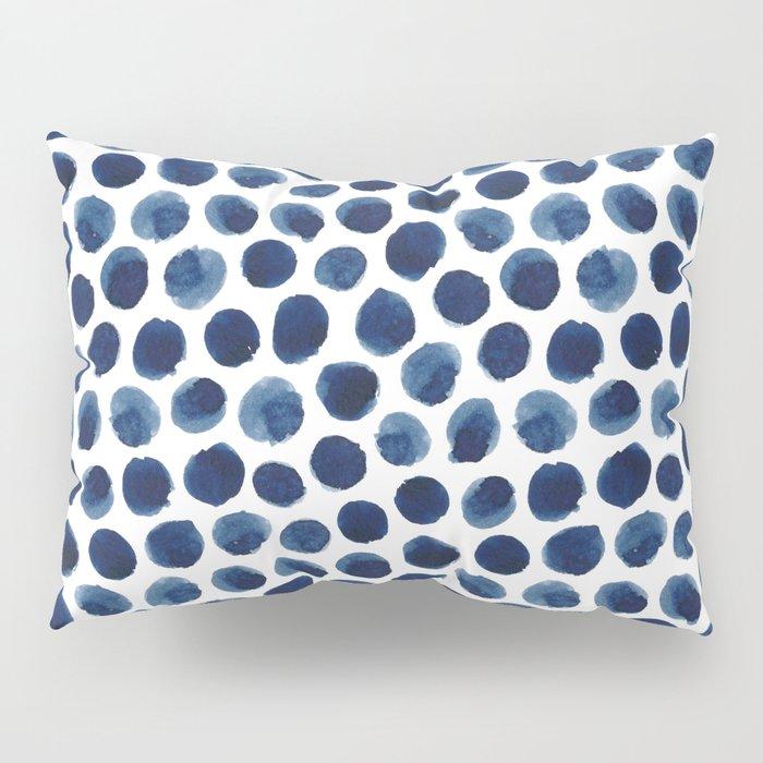 Large Indigo/Blue Watercolor Polka Dot Pattern Kissenbezug