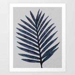 Botanical Navy Indigo Blue Vintage Palm Leaf Watercolor Painting Art Print Wall Decor  Art Print
