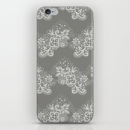 White on Grey Lace iPhone Skin