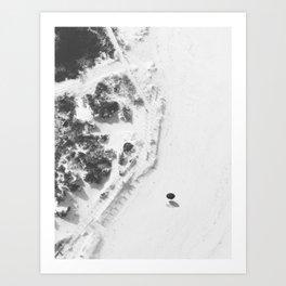 The Beach and the Polka Dot Umbrella bw Art Print