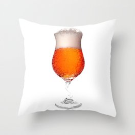 Elegant Beer Glass Throw Pillow