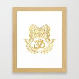 Hamsa - Om symbol Framed Art Print