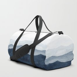 Indigo Abstract Watercolor Mountains Duffle Bag