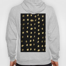 Preppy brushstroke free polka dots black and gold spots dots #society6 #decor #buyart #artprint Hoody