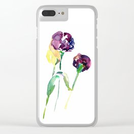 Watercolor carnation flowers Clear iPhone Case