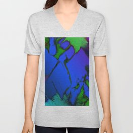 Colliding panels blue Unisex V-Neck