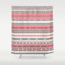 Aztec Print Peach Rose Salmon Grey Shower Curtain